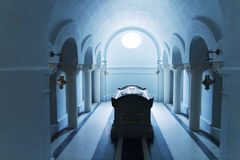 Grave inside mausoleum Royalty Free Stock Photo