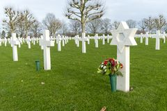 Grave of a Jewish soldier at the Netherlands American Cemetery and Memorial Margraten Stock Image