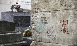 Grave of Jim Morrison in Paris - Pere Lachaise cemetery royalty free stock photography