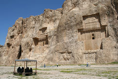 Grave of king Daeiros near Persepolis stock images