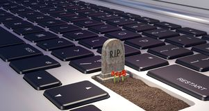 Grave on laptop computer, dependence on the digital world concept, 3d render. 3d illustration Stock Photography