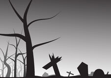 Grave and leafless tree halloween background Royalty Free Stock Photography