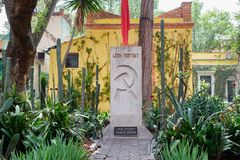 The grave of Leon Trotsky at the house where he lived in Coyoacan, Mexico City royalty free stock images