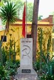 The grave of Leon Trotsky at the house where he lived in Coyoacan, Mexico City stock images