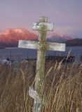 Grave marker. Overlooking the Pacific on Kodiak stock photography