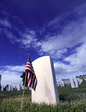 Grave Marker American Flag in a National Cemetery. Grave Marker of soldier in Santa Fe National Cemetery in Santa Fe, New Mexico Stock Photography