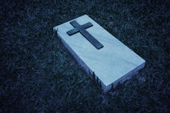 Grave marker at a cemetery in Singapore, in black and white Royalty Free Stock Photo