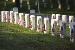 Grave markers with flags at Arlington National Cemetery on Memor Stock Images