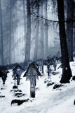 Grave markers forest cemetery. Grave markers in a snow-covered forest cemetery in Brunico, Italy Stock Photography