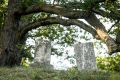 Grave Markers at an Old Cemetery. A pair of old headstones stands under a tree at old Cemetery in Rochester, New York, July 2018 Stock Photography