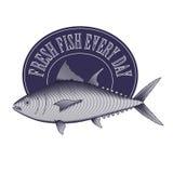 Grave o logotipo do vintage do estilo - peixes e quadro de atum ilustração stock
