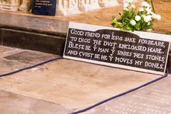 Grave Of Famous English Playwright And Poet William Shakespeare Royalty Free Stock Photo