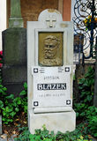 Grave of Patrik Blazek, Vysehrad Cemetery, Prague, Czech Republi. Grave and headstone of Patrik Blazek the famous Czech soldier, journalist and military author Royalty Free Stock Photo