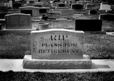 Grave for Retirement Plan Stock Images