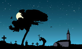 Grave robbing,  illustration. Vector illustration of grave robbing in the moonlight Stock Photos