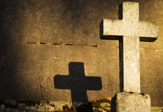 A grave's cross in Père Lachaise cemetery Stock Image