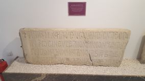 Grave Stone From Archeology Museum. Grave Stone from Edirne Archaeological and Ethnography Museum. Grave stone, historical and ancient Stock Photography