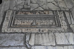 Grave stone in Hagia Sofia in Istanbul. Grave stone of Venetian Doge Henricus Dandolo in floor of former church and mosque and current museum Hagia Sofia in Stock Photos