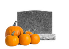 Grave Stone  and Pumpkins Isolated on White Royalty Free Stock Photo