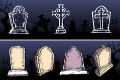 Grave Stone Set. Varied blank tomb stone for copy space, usable for Halloween decor Stock Photos