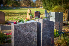 Grave stone with withered rose Stock Image
