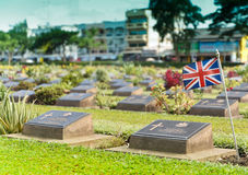 Grave Stone at World War II Cemetery. Grave Stone at World War II Cemetery, Kanchanaburi, Thailand Royalty Free Stock Photography