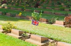 Grave Stone at World War II Cemetery,. Kanchanaburi, Thailand Royalty Free Stock Photo