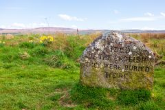 Grave stones at the Battlefield of Culloden royalty free stock image