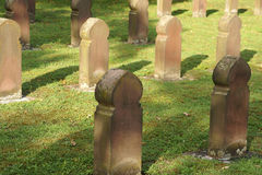 Grave stones. The grave stones of a mass grave in the fall and sunshine for the victims of the war stock photography