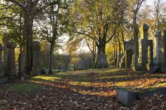 Grave stones at sunset on halloween. A grave stones in a graveyard at sunset on halloween, late October in Scotland royalty free stock photos