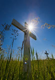 Grave sun flares Royalty Free Stock Photo