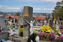 Grave / tombstone in the cemetery / graveyard. All Saints Day / All Hallows / 1st November Royalty Free Stock Photography