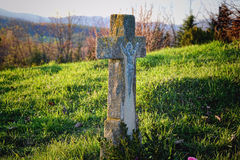 Grave / tombstone in the cemetery / graveyard. All Saints Day / All Hallows / 1st November Stock Image