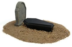 Grave & Tombstone on white Stock Image