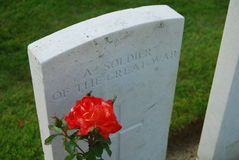 Grave at Tynecote cemetery, Belgium Royalty Free Stock Photography