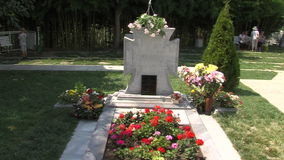 The grave of Vanga in Rupite, Bulgaria. Temple of Saint Petka built Vanga, Bulgarias tourist attractions, a place of pilgrimage for fans stock footage