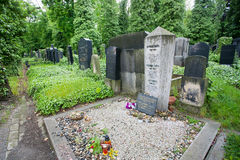 Grave of writer Franz Kafka on the cemetery. PRAGUE: Grave of popular writer Franz Kafka on the New Jewish cemetery n Czech Republic. Kafka (1883 - 1924) was a royalty free stock photos