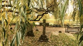 Grave Yard Cross Tombstone Showing Christian Religion Burial. The Graveyard At Holy Trinity Church Stratford Upon Avon stock video