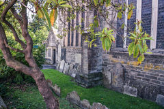 Grave yard in front of an old church in England UK Stock Images