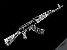 Graveer de geïsoleerde schets van de Kalashnikovillustratie Stock Afbeeldingen