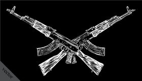 Graveer de geïsoleerde schets van de Kalashnikovillustratie Stock Fotografie