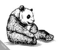 Graveer inkt trekken pandaillustratie Stock Afbeelding