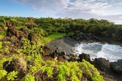 Gravel beach in Waianapanapa State park Stock Photos