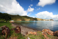 Gravel beach on Waiheke Island. Gravel beach on Waiheke Island, with seagulls, boats in background, Auckland, Nez Zealand stock image