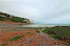 Gravel Beach at White Cliffs of Dover at St Margarets at Cliffe along Dover Straits Stock Photography