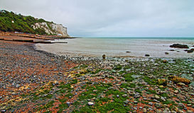Gravel Beach at White Cliffs of Dover at St Margarets at Cliffe along Dover Straits Royalty Free Stock Photography
