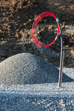 Gravel bed and heating pipe Royalty Free Stock Image