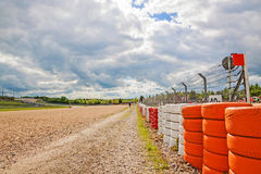 Gravel bed with tyres, Nurburgring speedway, Germany Stock Image