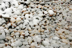 Gravel covering with snow Royalty Free Stock Image