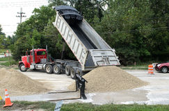 Gravel from a dump truck Stock Photography